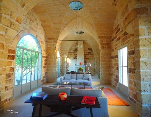 Indoor living room limestone flooring and limestone wall cladding