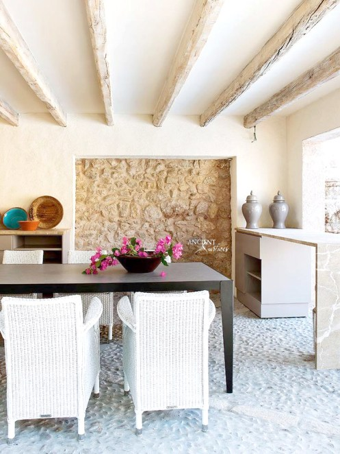 antique-old-woo-beams-ceiling-limestone-wall-cladding