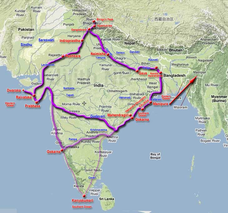 Route taken by Arjuna in his Pilgrimage.jpg
