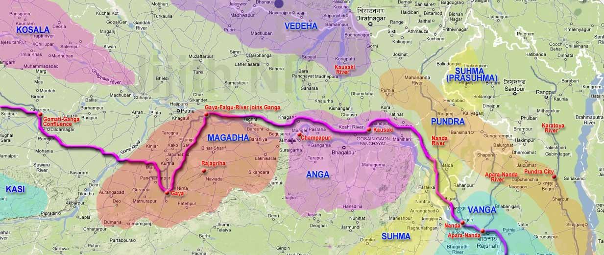 Arjuna's journey through Gaya, Kausiki, Nanda and Aparananda. jpg