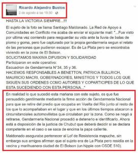 Post de Bustos en Facebook