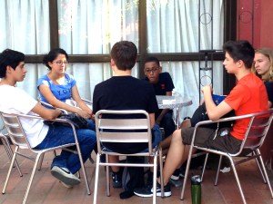 Sharing conversation with Oaxacan students.