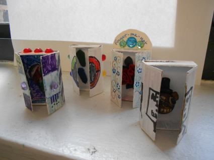 Retablos created out of matchboxes by 5th and 6th graders