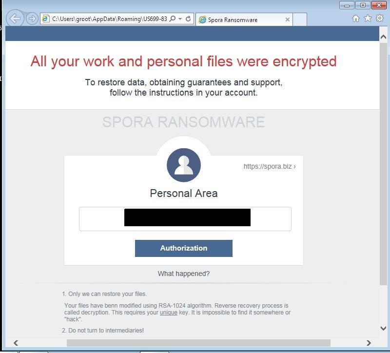 SPORA Ransomware(スポラランサムウェア)感染記 その1「感染編」