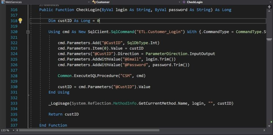 And example of calling SQL stored procedures from .NET.