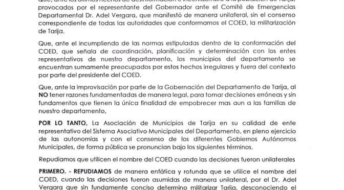 AMT rechaza militarización de Tarija