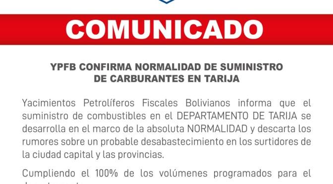 YPFB descarta desabastecimiento de combustibles en Tarija y aseguran que su venta es normal