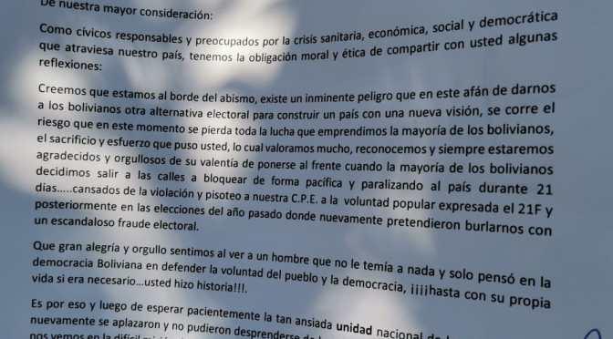 Cívicos de Tarija piden la renuncia de Luis Fernando Camacho