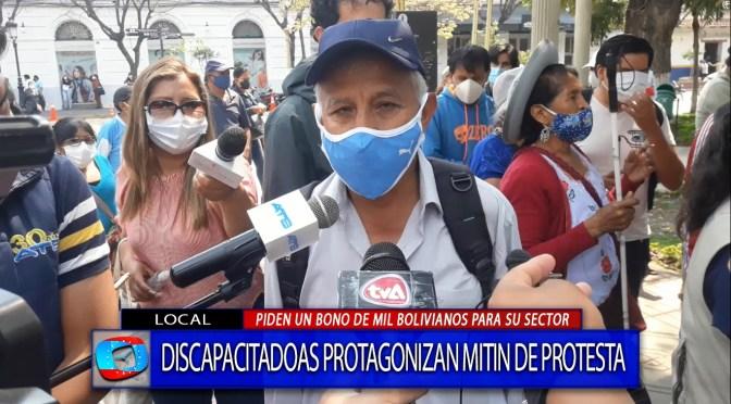 Personas con discapacidad nuevamente en las calles para exigir un bono de 1000 bolivianos