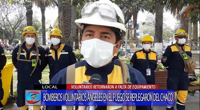 Bomberos voluntarios retornan a Tarija por falta de equipos para sofocar incendio en Villa Montes