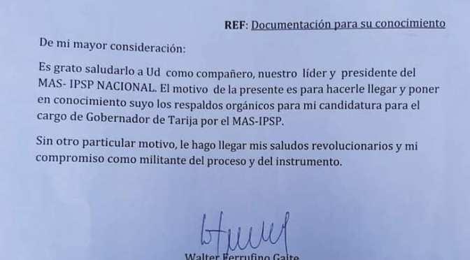 Walter Ferrufino apela a Evo Morales para su candidatura