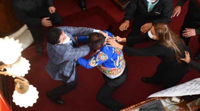 Con patadas y puñetes, asambleístas protagonizan una pelea en la Asamblea