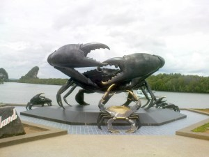 The Bronze Crab Statues in Krabi