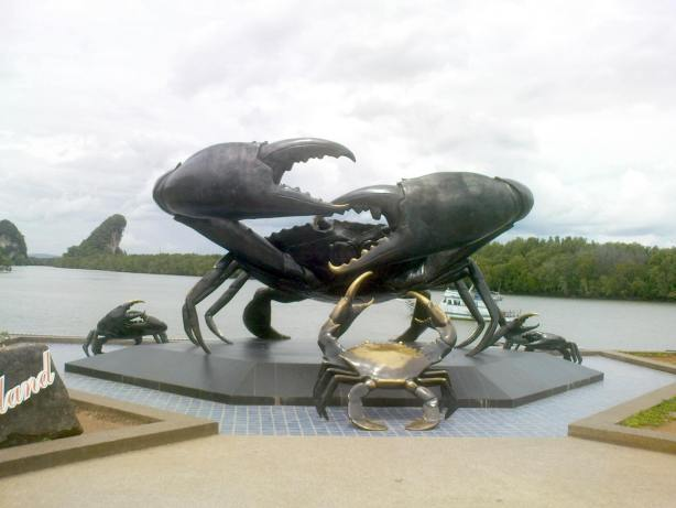 The Bronze Crab Statues in Krabi