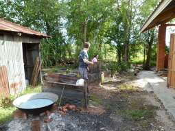 the outdoor dyeing and and dewaxing area