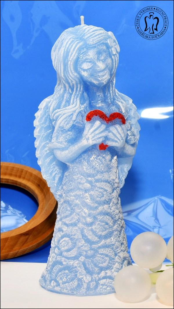 Velký Anděl se srdcem, modrý,svíčka Andělská svíčkárna, Angel with hearth, purple, candle, Angels candles 01