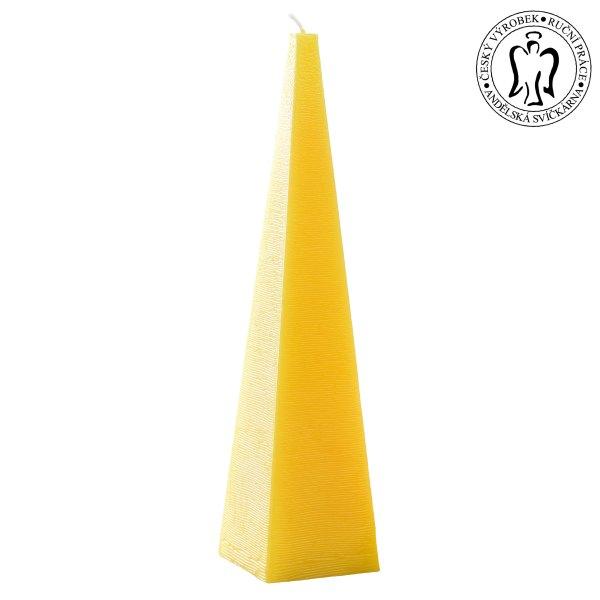 Žlutý jehlan, svíčky e-shop, Andělská svíčkárna, výrobce ,Yellow pyramid, candle, Angels candles 01