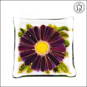 Skleněný svícen - Gerbera fialová (svícínek, sklo)