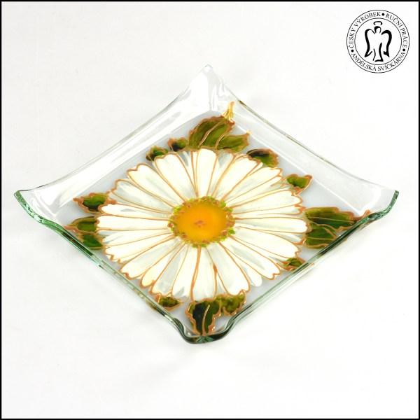 Skleněný svícen - Gerbera smetanová (svícínek, sklo)