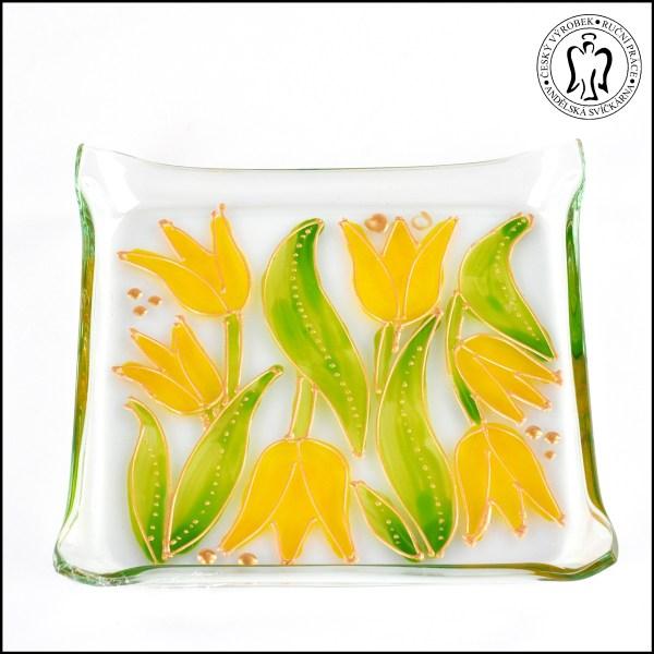 Skleněný svícen - Tulipány žluté (svícínek, sklo)