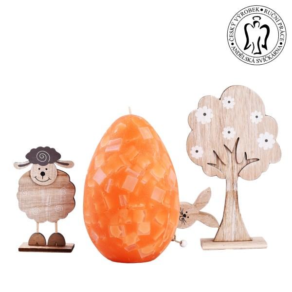 oranžové vajíčko,velká svíčka, velikonoční svíčky, easter candle, big candles, large, giant candle 03