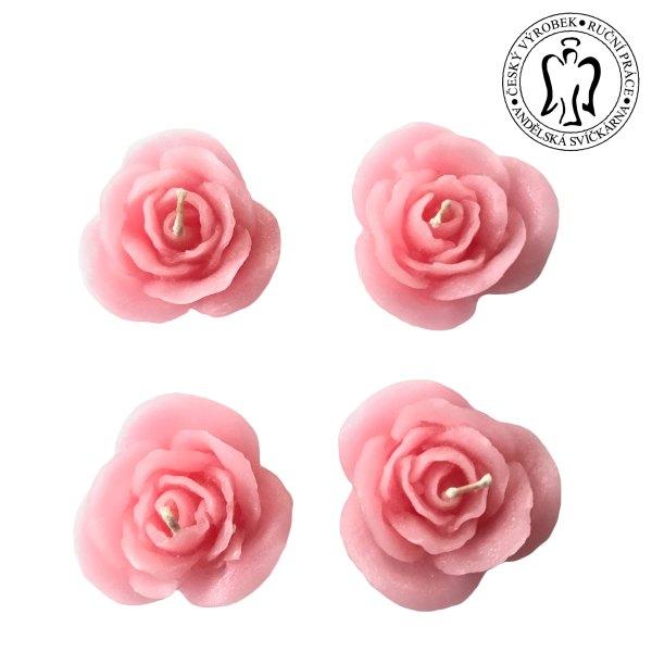 Růžové růžičky, plovoucí svíčky, růže, valentýnský dárek, floating candles, rose, valentine candle 03