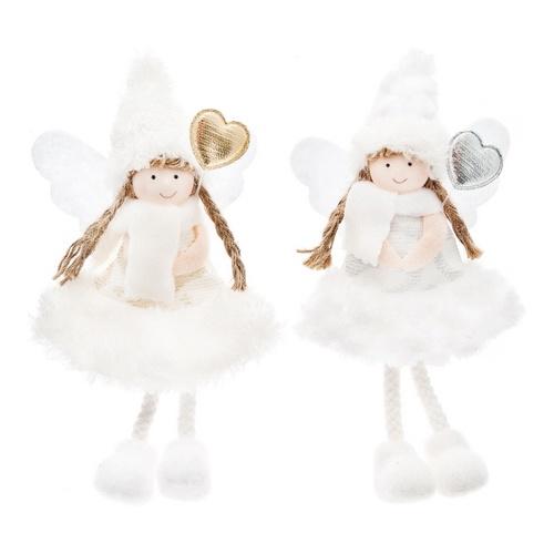 Plyšový anděl s copy a zlatým, stříbrným srdcem, Andělská svíčkárna, Plush angel with braids and gold, silver heart, Angels Candles