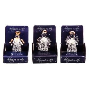 Skleněný Anděl v krabičce, dekorace, Andělská svíčkárna, Glass Angel in a Box, Decoration, Angels candles