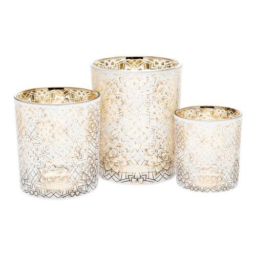 Skleněný svícen Geokvět malý, bílo-zlatý, Andělská svíčkárna, Glass Candle holder Geo-flower small, white-gold, Angels candles