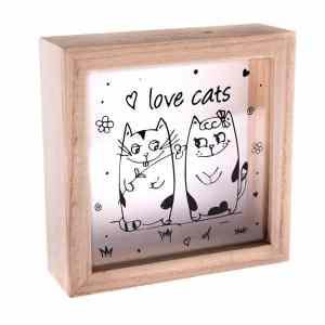 Dřevěná kasička s kočkami, Andělská svíčkárna, Wooden piggy bank with cats, Angels candles