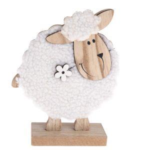 Velikonoční dekorace - Dřevěná bílá ovečka - velká