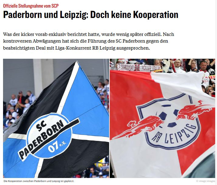 Kicker: Paderborn und Leipzig: Doch keine Kooperation