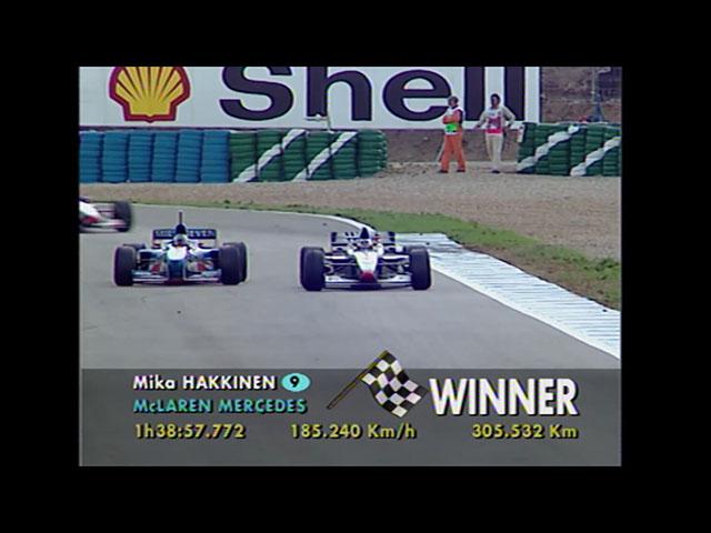 Mika Häkkinen crossed the finish line to earn his first F1 victory in Formula 1 1997 European Grand Prix. F1Rewind, Formula 1, F1, 1997年一級方程式歐洲站, 夏健倫
