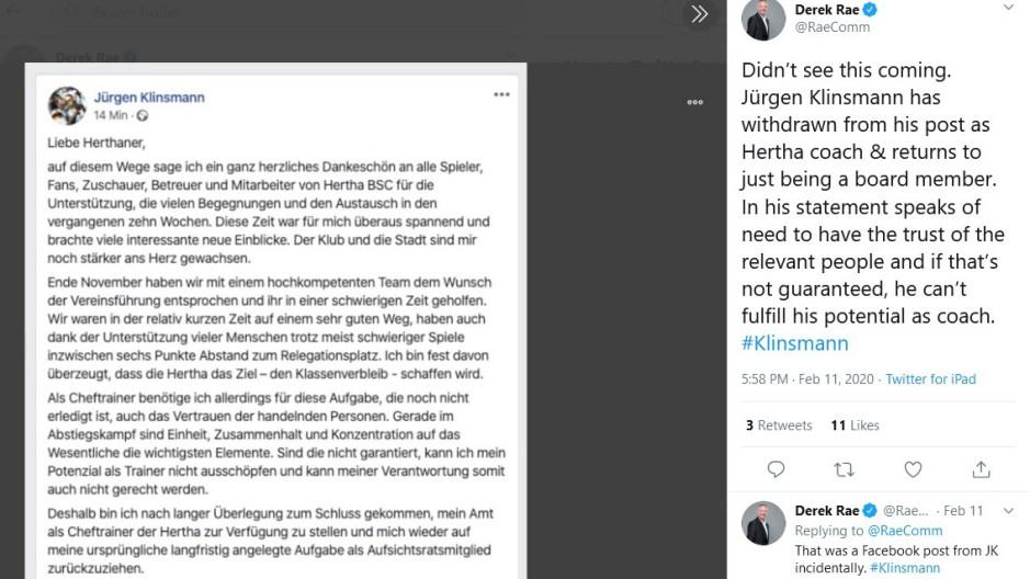 Jürgen Klinsmann, 奇連士文, Hertha BSC Berlin, 哈化柏林, 奇連士文請辭, Derek Rae, Projekt Anderen,
