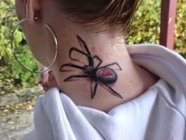 spider on neck