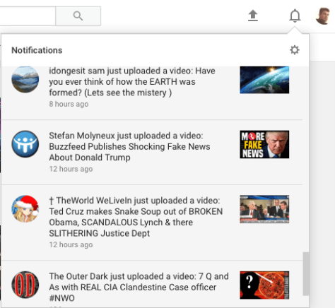 The new notifications layout on YouTube, hitherto referred to as 'YouTube Notifications'