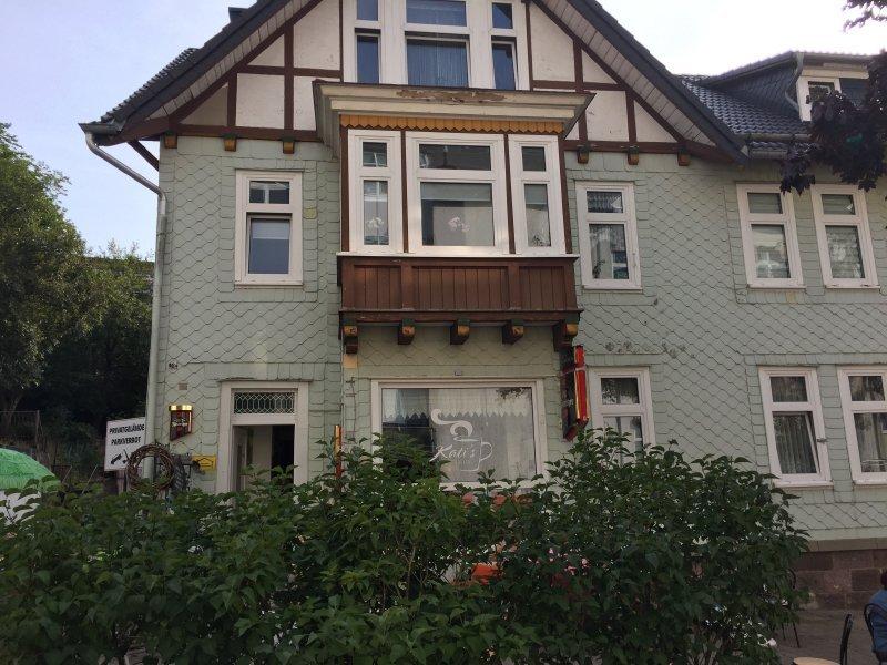 Café, Haus hinter Büschen verseckt, Oberhof, Rennsteig