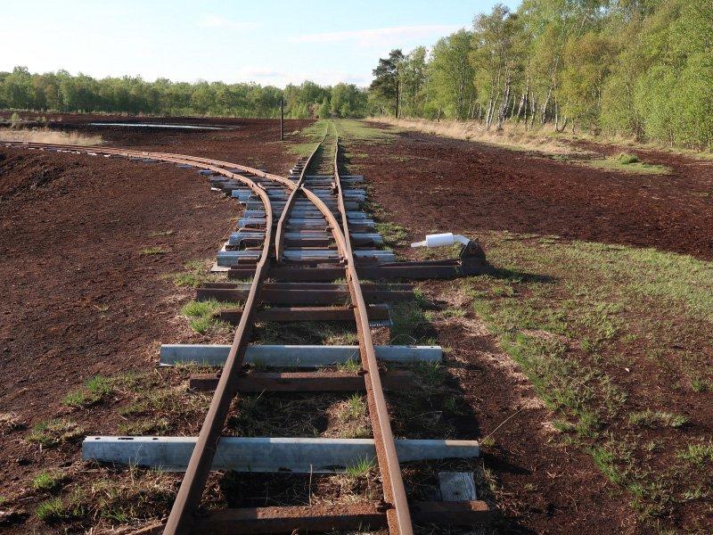 Eine Schmalspurbahn, links und rechts die dunkelbraune Torferde