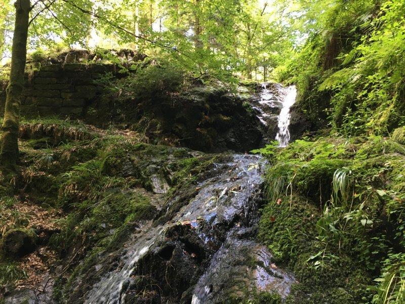 Kleine Kaskaden des Holchenwasserfalls, das Wasser rieselt wegen der Trockenheit der vergangenen Wochen eher spärlich über die Felsen