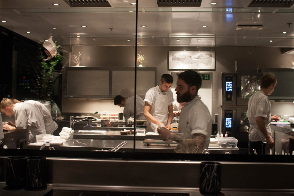 View from our table towards the Maaemo kitchen.