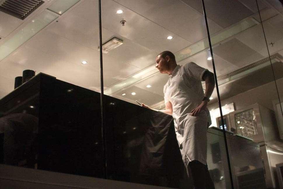 Maaemo's head chef Esben Holmboe Bang at his station.
