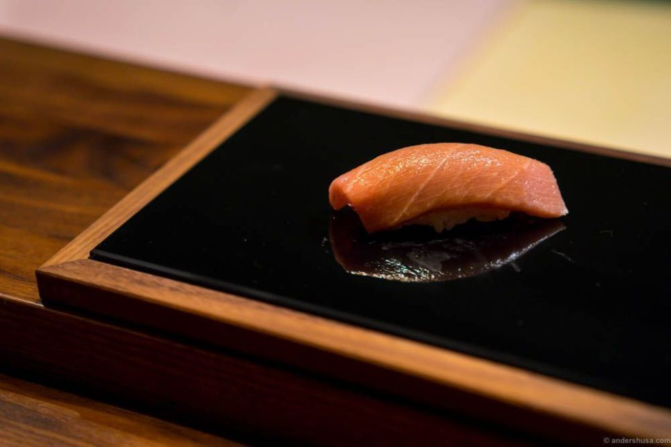 """Tuna """"toro"""" with soy sauce. Toro is the fatty part of the tuna, and considered the most valued ingredient in sushi."""