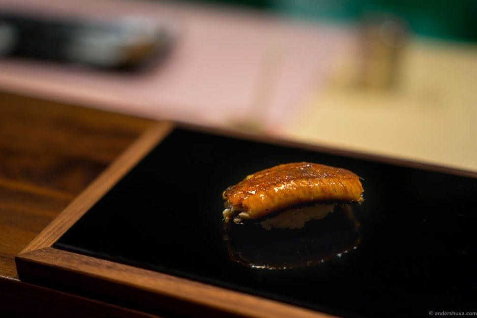 Eel unagi. The eel was from Denmark, and as such the least local ingredient.