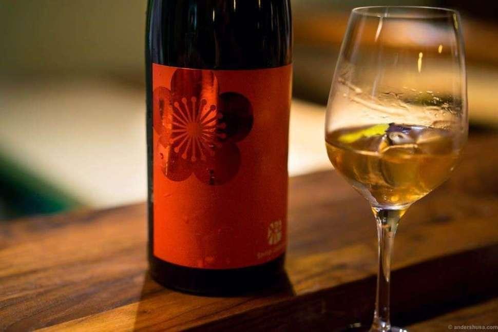 Morinokura, Shiso Umeshu. A sake based plum wine flavored with red basil