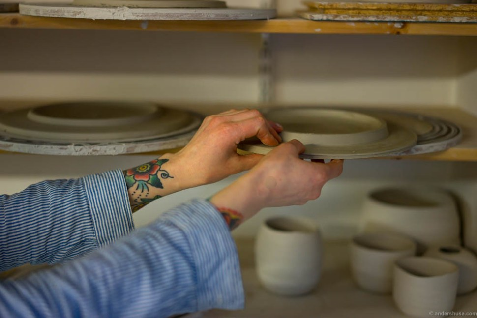 After turning and shaping the plates they are left to dry