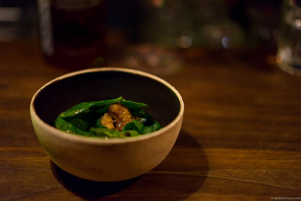 Veal sweetbread, spinach and schezuan
