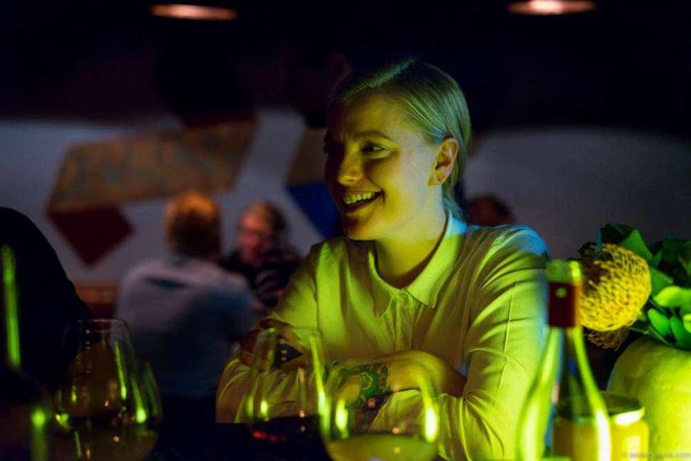 Anette Krogstad in the bar