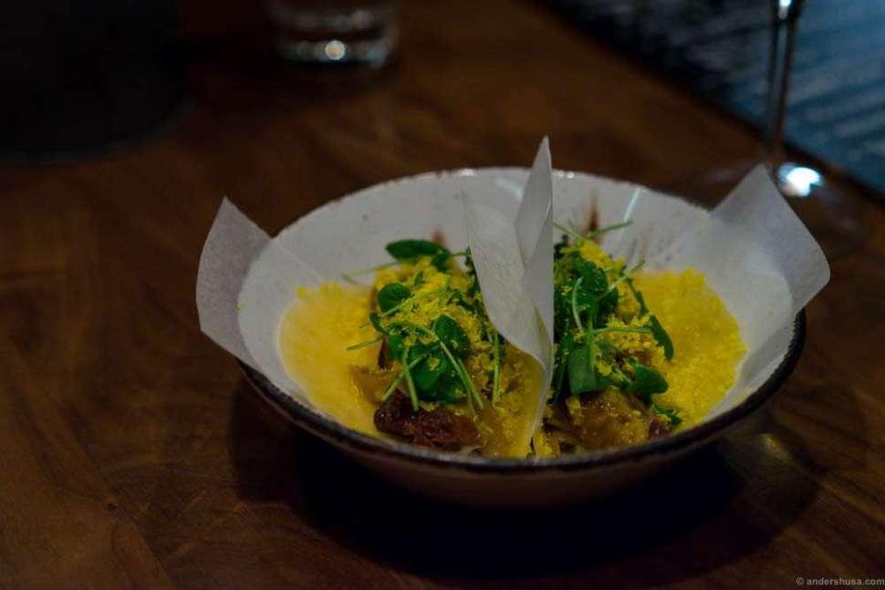 Taco of lamb in tortillas made of turnip.