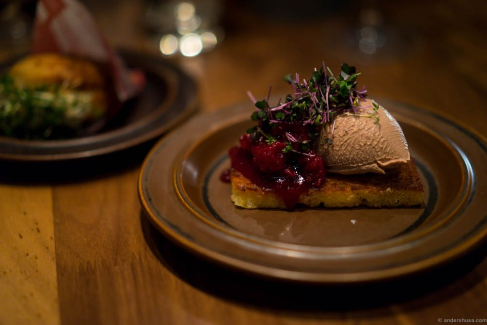 Duck liver mousse on butter fried brioche with cranberry jam and cress.