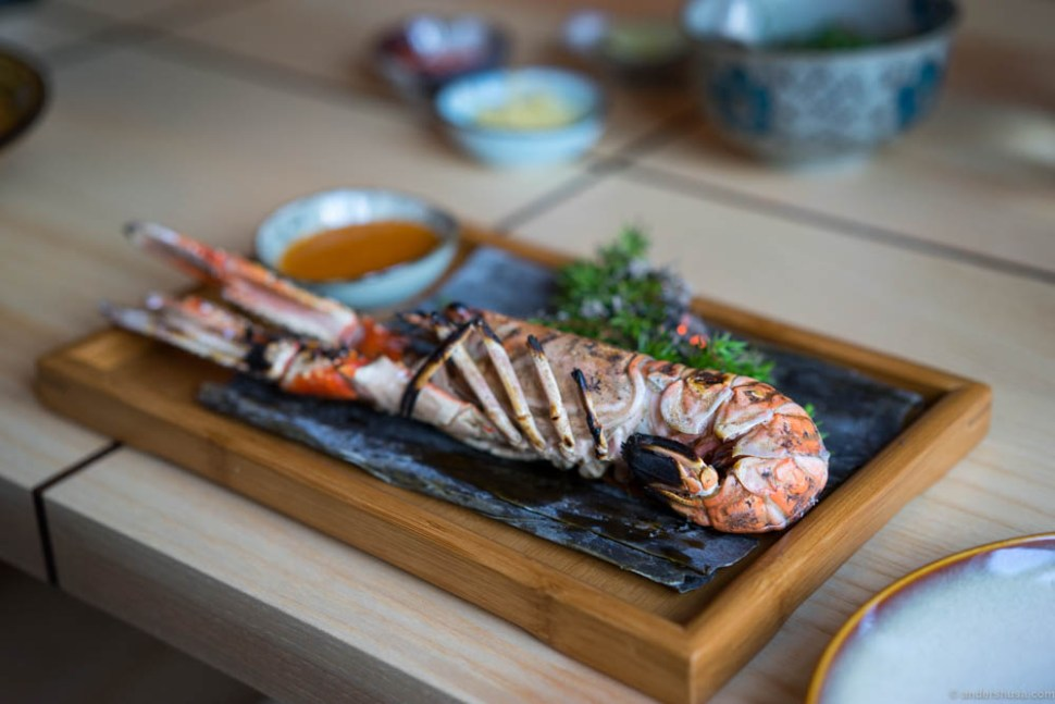 The grilled langoustine with a dip of all the good flavors of Asia.